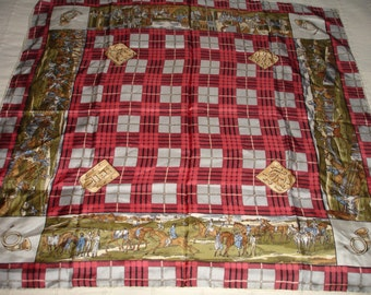 Vintage silk scarf gift for her red white scarf hunt