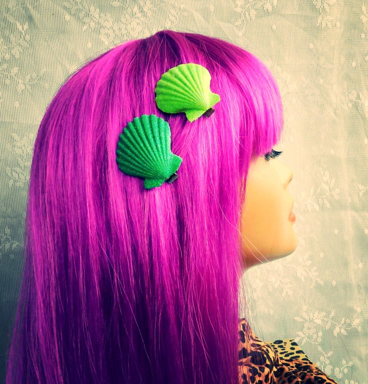 Two seashell hair clipsbright green by abbiesanchor on etsy for Seashells for hair