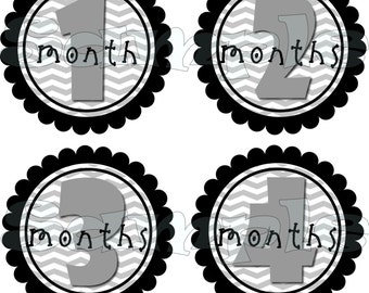 Precut Monthly stickers set  Baby Shower gift 1- 12 Month stickers infant monthly stickers Bodysuit Stickers Month to Month Baby Girl