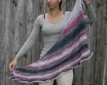 Knitted Multicolor Grayish Purple Shoulder Long Scarf women scarf gift ideas, women winter scarf