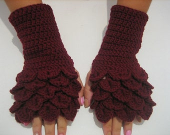 Fingerless Gloves Crocheted Arm Warmers Red Accessory, winter accessories, christmas day gift