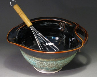Ceramic batter bowl with whisk,  patina green and temmoku glazes