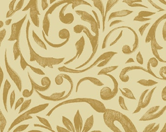 SUPER CLEARANCE! One Yard My True Love Gave to Me - Damask in Linen Cotton Quilt Fabric - Erin McAllister - Benartex Fabrics (W381)