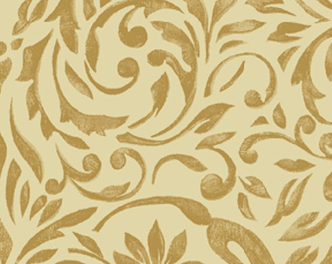 SUPER CLEARANCE! One Yard My True Love Gave to Me - Damask in Linen Cotton Quilt Fabric - Erin McAllister - Benartex Fabrics (W381)