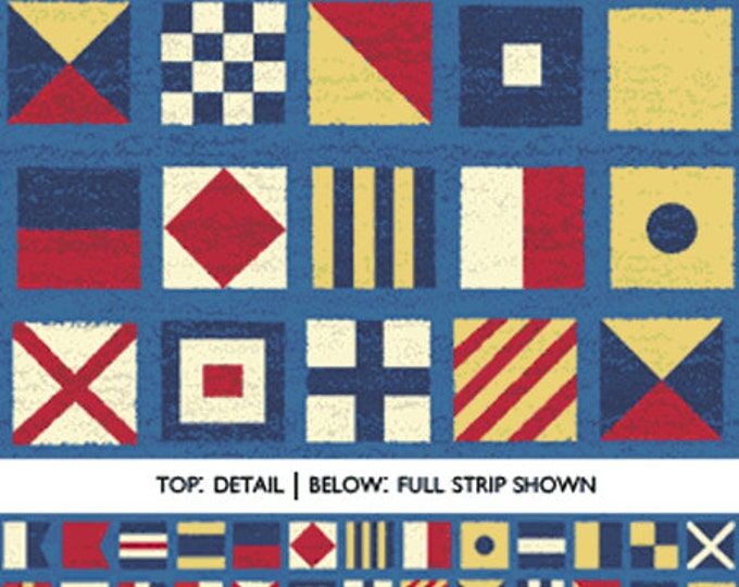 SUPER CLEARANCE!!  One Yard Ships Ahoy - Nautical Flags in Navy - Nautical Cotton Quilt Fabric - from Benartex Fabrics (W653)