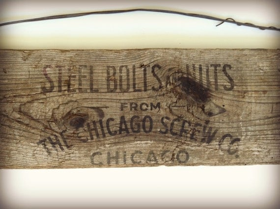 Vintage Sign Reclaimed Wood Chicago Screw Company Steel Bolts and Nut ...