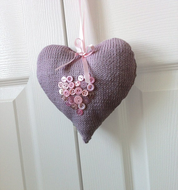 Knitting Pattern Heart Cushion : Items similar to Gift To Make - All My Love Heart - Knitted Heart - KNITTING ...