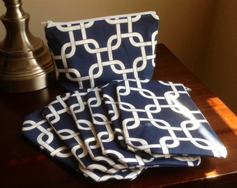 6 Bridesmaid Makeup bags, cosmetic case, zipper pouch, clutch - navy chain link