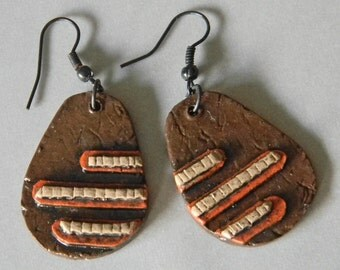 Earrings Distressed Boho Polymer Clay Mid Century Modern Jewelry Women Casual Dangles LINE ITEM by ArtCirque Donna Pellegata
