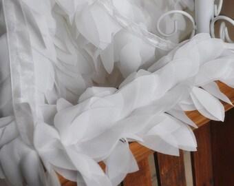 Chiffon Lace Trim White 3D Leaves Chiffon Lace Bridal Straps Wedding Doll Dress 1 Yard