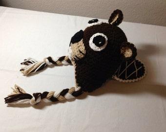 Crochet beaver hat any size NB thru adult earflap beaver hat photography prop