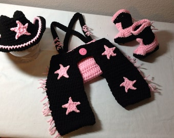 Crochet NB through 6 mos baby girl cowgirl outfit cowgirl chaps, cowgirl hat, cowgirl boots photography prop pink and black