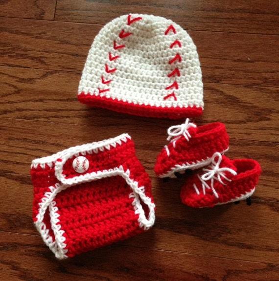 Crochet baby boy newborn through 12 mos baseball outfit hat