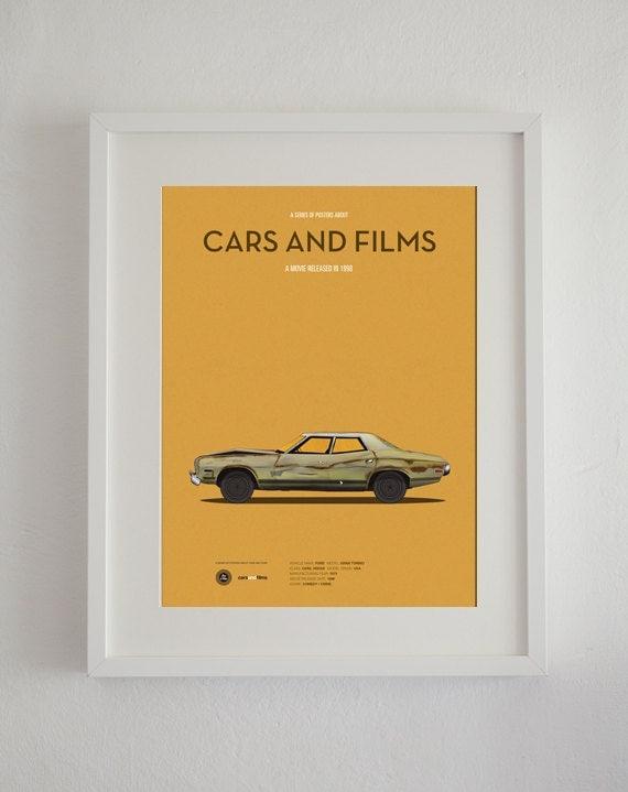 The Big Lebowski car movie poster, art print A3 Cars And Films, home decor prints, illustration print. Car print