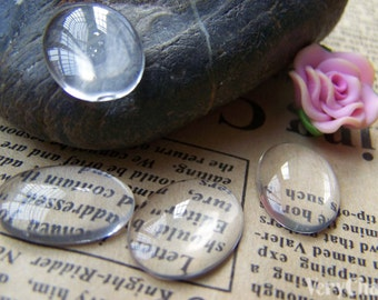 Oval Glass Cabochon Domed Magnifying Glass Cameo 13x18mm Set of 20 pcs A3633