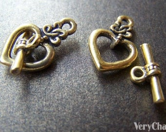 20 sets of Antique Gold Heart Toggle Clasps 13x20mm A1254