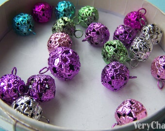 10 pcs of Filigree Metal Bell Charms Mixed Color 12mm A3860
