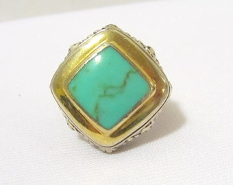 Retro Vintage Sterling silver Two-Tone Natural Turquoise High Dome Filigree Ring Size 6.75