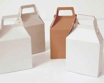 16 White, Gray and Kraft Natural Gable Gift Box 4.21x4.33x1.45 I Handle boxes, gable boxes, packaging, presentation box, card stock boxes
