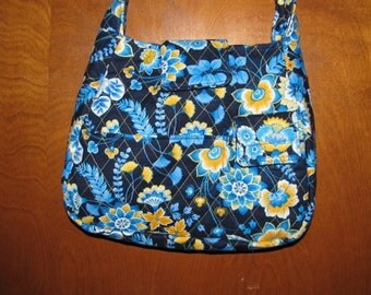 Handmade Quilted Purse,  Navy, yellow floral quilted, Handbag, Quilted handbag, 266A