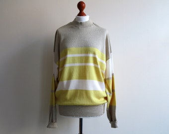 White Beige Yellow Knitted Cotton Sweater Colorblock Pulloover Striped Knitwear Oversized Medium Size