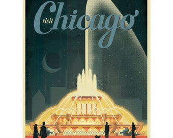 Chicago Illinois Fountain Wall Decal #42231