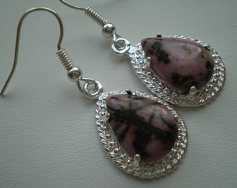 Rhodonite (Natural) 925 Silver Plated French Wire Dangle Earrings