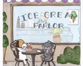 Ice Cream Parlor 10 x 10 Digital Watercolor Print