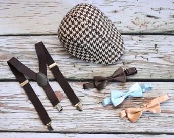 Ring Bearer, Wedding party, Brown bow tie, Newsboy Hat, Tweed wool, tweed hat, boys brown suspenders, Bow Tie,  boys 1-5 years old