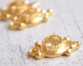 3 PieceS Gold Plated Vintage Bezel Charm, Jewelry Supply for Cabochons, Gold Plated Pendant, Charm