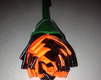 Black and Orange Duck Tape Rose Pen Halloween Decor Gift