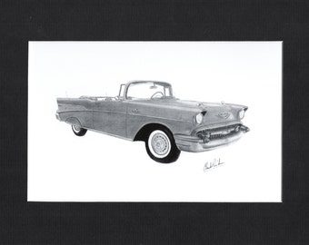 Pencil drawing of a 1957 Chevrolet Bel Air convertible