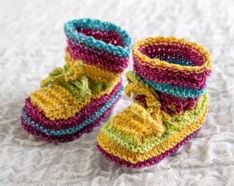 KNITTING PATTERN, Baby Booties, Cute Booties, Tied Baby Booties, Ribbed Baby Bootees,