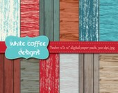 Distressed wood paper, Scrapbook paper, rustic wood, teal, brown, deep red paper, instant download, cij, wood background, woodland theme - WhiteCoffeeDesigns