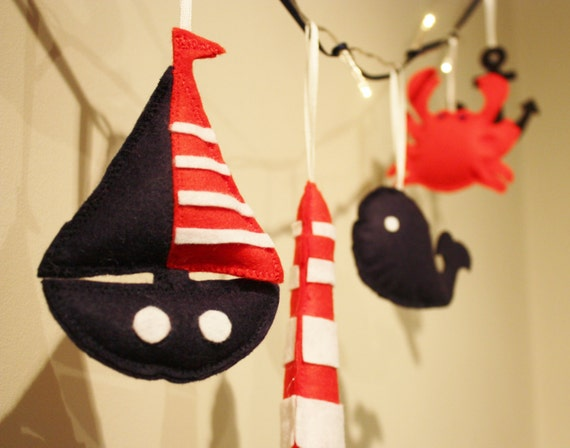 Nautical nursery sailboat fairy lights by ButtonOwlBoutique