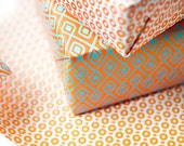 eva&anne Double Sided Wrapping Paper, blue and orange print, 3 sheets
