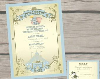 Dumbo Theme Baby Shower Invitations