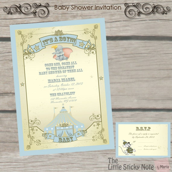 dumbo theme baby shower invitations