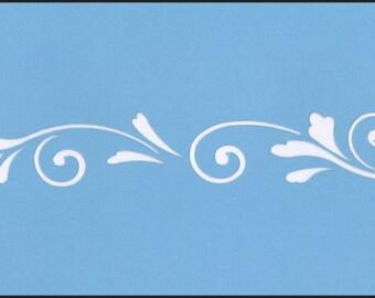 Scandinavian Scroll Blue Laser  Border Stencil #676