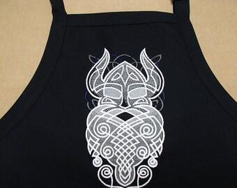 Embroidered Swedish Norwegian Danish Viking Head on Black Apron
