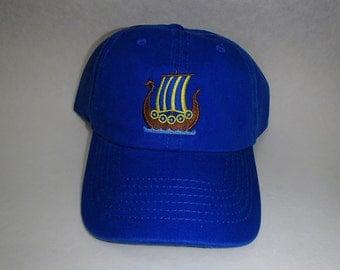 Scandinavian Embroidered Baseball Cap Hat  - Viking Ship