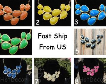 Bib Necklace Statement necklace Bubble necklace Teardrop necklace Beaded Necklace Yellow necklace Blue necklace Green necklace Pink necklace