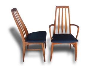 Mid-Century Danish Modern Eva High Back Dining Chairs by Niels Koefoed Teak 6 PC set