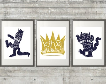 Nursery Art , Playroom Art - Where The Wild Things Are Print - Set of 3 8x10 Prints