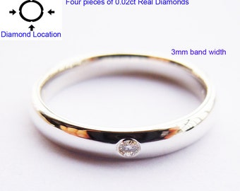 Made-to-Order Diamond Ring 3mm with 4pcs of real diamonds