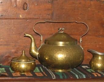 BRASS HAND HAMMERED Tea Set