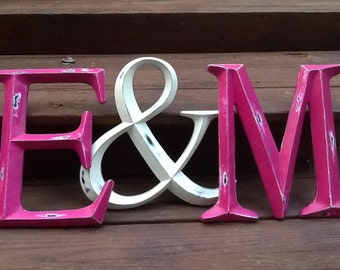 Large Initials and Ampersand Wall Letters Shabby Chic Distressed Capital Initial Rustic Wall Letter