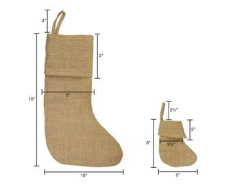 "6 Pack of Burlap Stocking 6"" wide x 5"" tall"