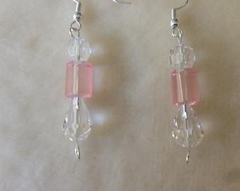 Pink Drop Earrings, Pink Earrings, Pink Jewellery, Pink Dangly Earrings, Pink Bead Earrings, Crystal Earrings, Crystal Jewellery