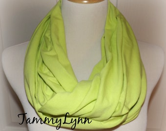 Apple Green Solid Cotton Spandex Knit Fabric Blend Easter Infinity Scarf Women's Accessories